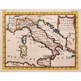 ITALY ITALIE ENGRAVED MAP HAND COLORS BUFFIER 1786