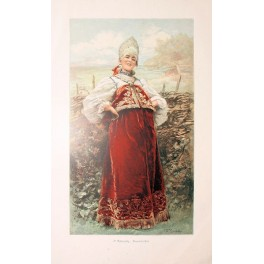 Russian farmers daughter, antique print 1880