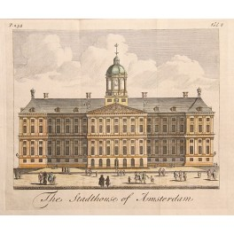 ROYAL PALACE-AMSTERDAM-THE NETHERLANDS 1730 ANTIQUE COPPERPLATE ENGRAVING