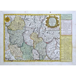 The principality of Brandenburg Prussia Germany antique map by Schreibern 1730
