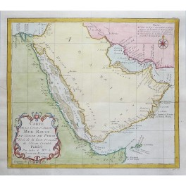 SAUDI ARABIA COST MAP RED SEA AND GULF OF PERSIA ORIGINAL MAP BELLIN 1749