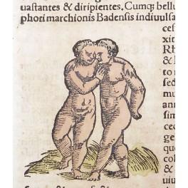 GAY NATIVES 450 YEAR ANTIQUE LEAF BY SEB. MUNSTER 1550