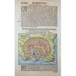 RHODES KINGDOM GREECE ANTIQUE WOODCUT LEAF BY SEB. MUNSTER 1570