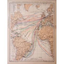 Steamship connections Atlantic Ocean history map 1892