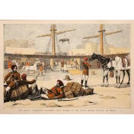 INDIAN CAVALRY LANDING MALTA ANTIQUE PRINT 1870
