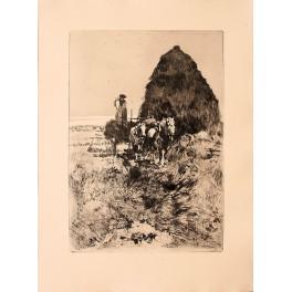 Ferdinand Schmutzer.The Hay Stack. etching 1906 prints