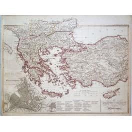 BYZANTINE EMPIRE BALKANS ORIGINAL ANTIQUE MAP KARL SPRUNER 1846