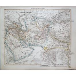 ARABIA INDIA ARMENIA ORIGINAL KALIFAT ANTIQUE MAP KARL SPRUNER 1846