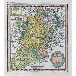 Alsace France Rhine Ober Rheine Upper Rhine antique map by Weigel 1733