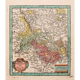 Germany Rheine Rhine antique map by Weigel 1733