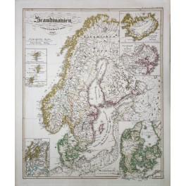 SCANDINAVIA ICELAND DENMARK ORIGINAL ANTIQUE MAP KARL SPRUNER 1846