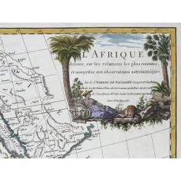AFRICA/L'AFRIQUE DRESSES SUR/ LARGE ANTIQUE MAP BY VAUGONDY 1756