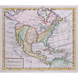 America Mexico Canada Old antique map by Vaugondy 1750