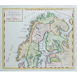 Sweden Norway Finland Estonia Old antique map by Vaugondy 1750