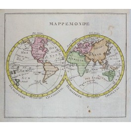 DOUBLE HEMISPHERE WORLD MAP HAND COLORED ANTIQUE MAP BY VAUGONDY 1750