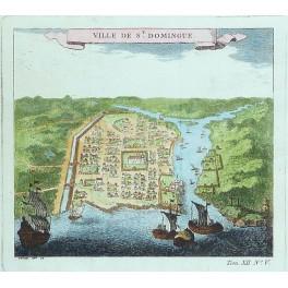 Port de Santa Domingo English fleet old antique map chart by Bellin 1750