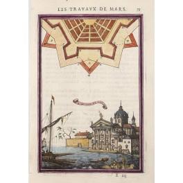 SAN GIORGIO MAGGIORE VENICE ITALY ANTIQUE OLD PRINT MALLET 1684