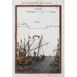 ZANBOURG HARBOUR MARITIME OLD PRINT BY MALLET 1671