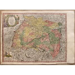 1744 Antique Swabia map, Germany, Swiss, by Seutter