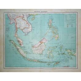 Asia Islands, Thailand Indonesia Philippines Large antique atlas map 1893