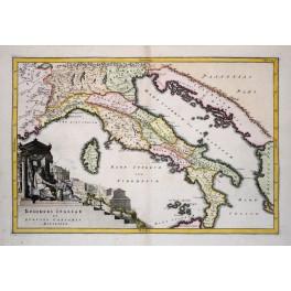 Italy in Caesars time old antique map Cellarius 1731