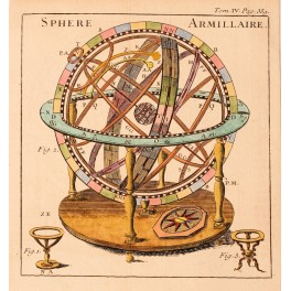 SPERE ARMILLAIRE – GLOBE - HAND COLORED ENGRAVING PLUCHE 1739
