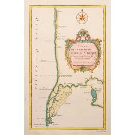 1758 ANTIQUE MAP, Senegal, Flüsse, von JN Bellin