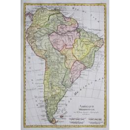 AMERICA SOUTH CHILI BRAZIL PEROU OLD MAP BY BONNE 1780