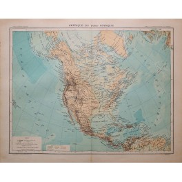 NORTH AMERICA PHYSICAL LARGE ANTIQUE ATLAS MAP 1893
