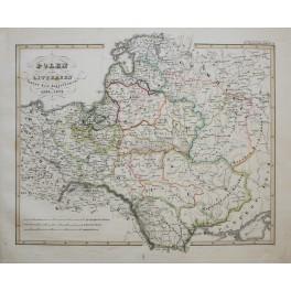 POLAND and LITHUANIA ORIGINAL ANTIQUE MAP KARL SPRUNER 1846