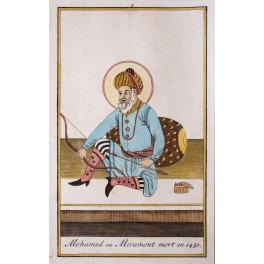 Sultan Mohamed Timurid dynasty Persia orginal antique engraving Chantelain 1720