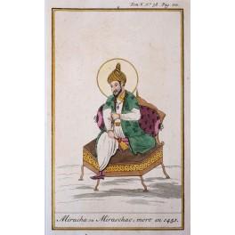 Miracha son of King Persia Iran History original antique engraving Chatelain 1720