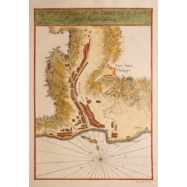 Fort St. Philippe, St. Yago, Antique Map Bellin 1750