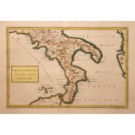 South Italy Sicily antique map Cellarius 1796
