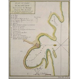 Mexico Acapulco town plan antique map by Bellin 1754