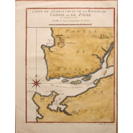 Africa Congo Zaire river antique map by J.N. Bellin 1747.