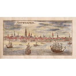 Antwerpen Antwerp Flanders Belgium antique map Matthaus Merian 1700