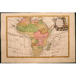 1768 Large antique map of Africa for Drakes Voyages.