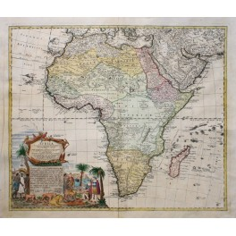 Africa Great original old map by Homann/Heirs 1740