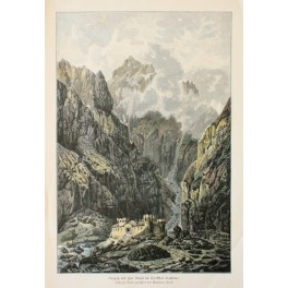 The Darial Gorge Russian fort Old print 20e Cent.