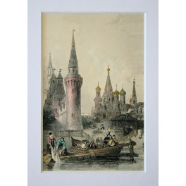 ST.BASIL'S CATHEDRAL MOSCOW RUSSIA OLD PRINT 1844