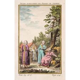 WOMEN OF SIBERIA Old print Copperplate engraved By BELLIN1768