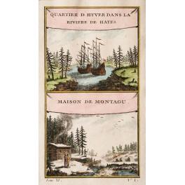Hayes River Manitoba Canada Original old print Bellin1759