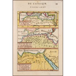 AFRICA – ROUTE TO MECCA – ORIGINAL OLD PRINT BY MALLET 1671
