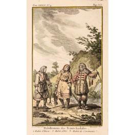 Kamchadales habits Kamchatka Russia Old print Prevost 1770