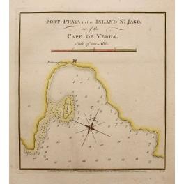 Porto Praya, Island of Santiago, antique map 1777, Darwin