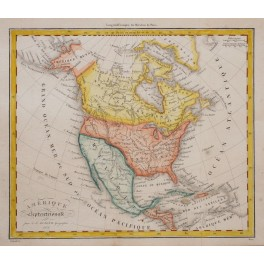 America Canada Mexico Antilles Old antique map hand colored by Dufour 1828