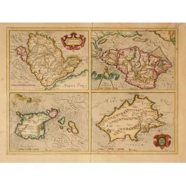 British Islands Anglesey, Wight, Garnesay, Iarsey Old map Mercator 1630