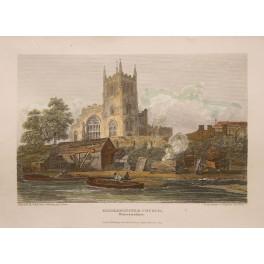 KIDDERMINSTER CHURCH – WORESTERSHIRE - ANTIQUE PRINT - HARRIS 1814