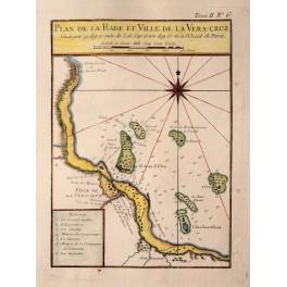 Mapas de México antique map Veracruz Mexico 1764 Bellin